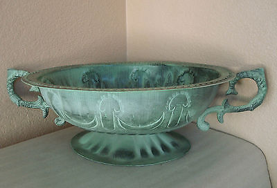 "Vintage Antique Green Patina Ornate Metal Oval Footed Bowl w/ Handles 14""large"