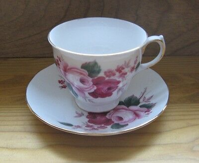 Queen Anne/Roses English Bone China--Cup and Saucer--Ridgway Potteries