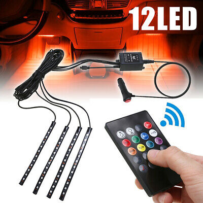 4pcs RGB 12LED Car Interior Neon Atmosphere Strip Light Music Remote Control New