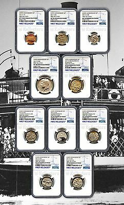 2017 S 225Th Enhanced Uncirculated U.s.10Coin Set Ngc Sp70 First  Releases Blue