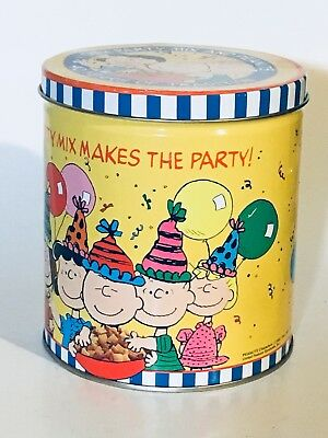 Vintage Chex Party Mix And Peanuts Gang 40th Anniversary Tin Advertising