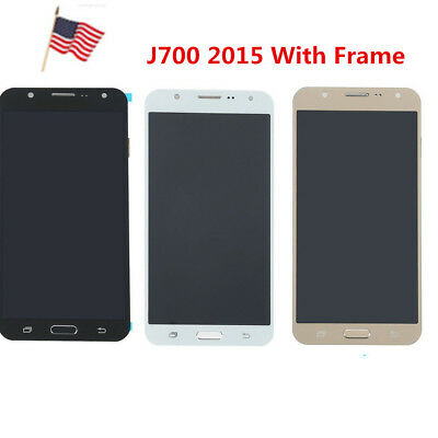 New For Samsung Galaxy J7 2015 J700M LCD Touch Display Screen Digitizer Frame US