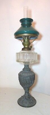 antique ornate Victorian figural case glass white metal brass oil lamp light