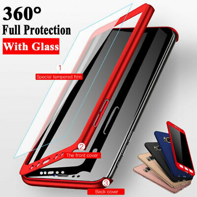 For Samsung Galaxy A6 A8 A10 A70 S8/9 Plus 360° Full Cover Case + Tempered Glass