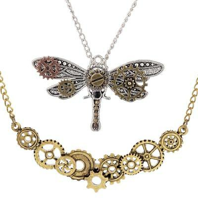 2Pcs Gears Metal Cogs Necklace Dragonfly Pendant Steampunk Style for Unisex