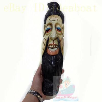 China Wood Hand Carved Painted NUO MASK Walldecor-Art-Earth God(Tu Di) Tall 48cm