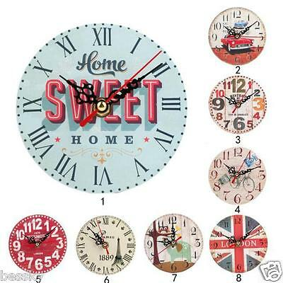 Vintage Style Non-Ticking Silent Antique Wood Wall Clock Home Kitchen Office