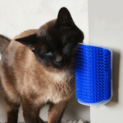 Pet Cat Dog Self Groomer Brush Wall Corner Grooming Massage Toy With Catnip Top
