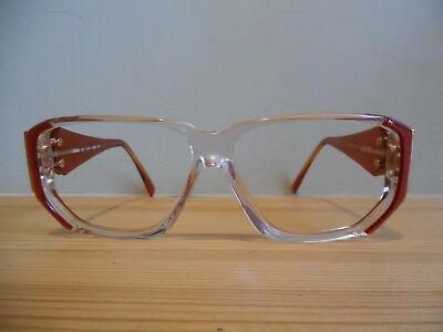 Vintage Silhouette Clear & Shimmery Red with Art Deco Design Eye Glasses M1193
