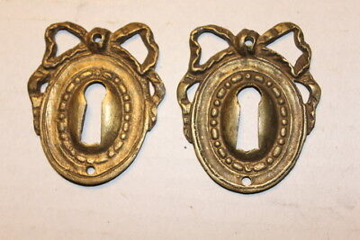 Antique Victorian Era Solid Cast Brass Key Hole Escutcheon for Skeleton Key