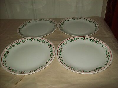 "Lot of 4 Brand New Corelle Winter Holly Christmas 10 1/4""  Dinner Plates NWT"