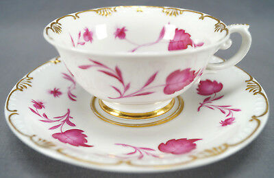 KPM Berlin Hand Painted Pink Floral Leaves & Gilt Tea Cup Circa 1837 - 1844
