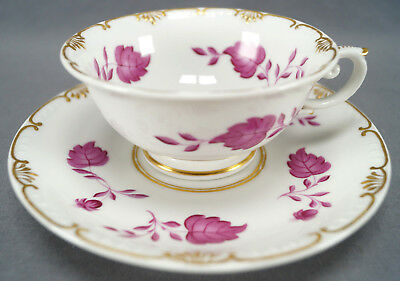 KPM Berlin Hand Painted Pink Floral Leaves & Gilt Tea Cup Circa 1832 - 1837