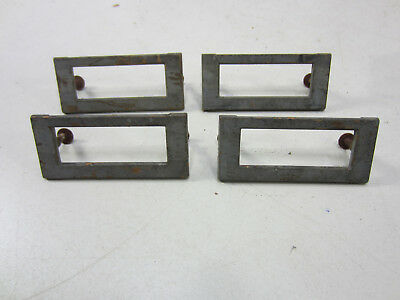 4 Vintage Heavy Brass Card File Cabinet Label Holders  #563