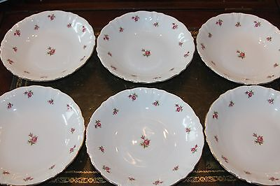 Winterling Bavaria Wild Rose Coupe Soup Bowl 7 inch Set of 6 Embossed Pink Roses
