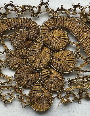 """Rare Find Antique Gold Metallic Torch Trim Ornate Wide 1 Yrd 2 ft 6"""" French"""