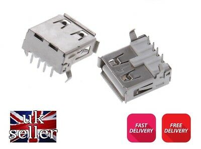 2 x USB Female Type A Port 4-Pin DIP 90 Degree Jack Socket Connector