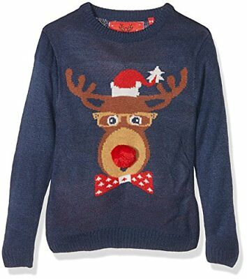 The Christmas Workshop Christmas Jumper-Kids Reindeer Head, Felpa Bambino, Blu (
