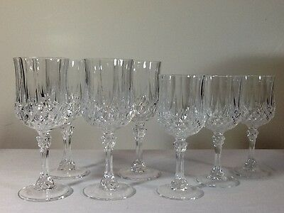 "Longchamp Water/Wine Goblets/Glasses Lead Crystal Cristal D'arques…7 ¼"" and 6 ½"