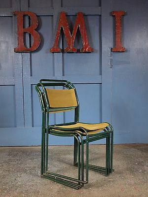 Set of 3 Vintage Industrial Mid Century Metal Stacking Dining Chairs Retro