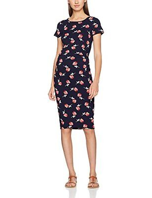 Dorothy Perkins Maternity Floral Ruched Bodycon, Vestito Donna, Blue (Navy), 34