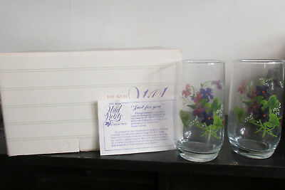 NIB Vintage Avon Wild Violets Collection 6 Crystal Juice / Water Tumblers