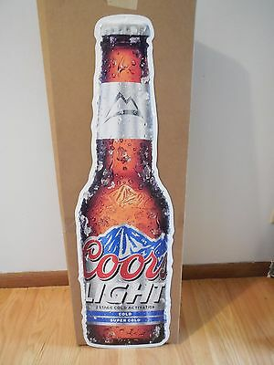 "(L@@k) Coors Light Beer Giant Bottle Tin Tacker Sign 36"" Game Room Man Cave New"