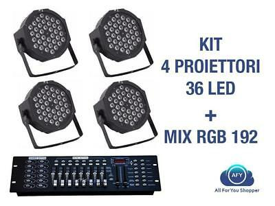 4 Par Led + Mixer 192 Faro Rgb 36 Led Strobo Wash Programmabile Dmx