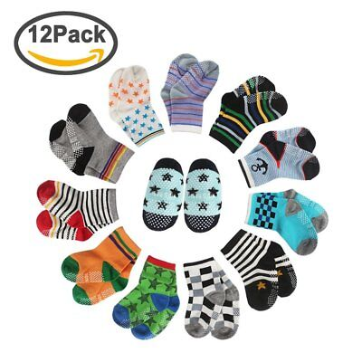 CIEHER 12 Pairs Baby Socks Non-Skid Ankle Cotton Socks with Grip for 9-36 Months