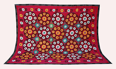 Large Uzbek Hand Embroidered Silk On Cotton Old Suzani Of Baysun Bek-448