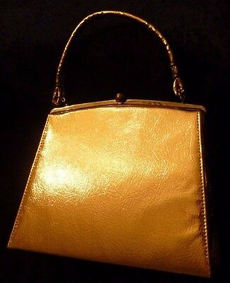 "True Vintage DOVER handbag purse,USA. Metallic Gold/Golden.1950""s.1960's.Retro"