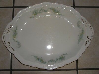 "Vintage Johnson Bros. 16"" Oval Serving Platter Scalloped Edge accented in Gold"