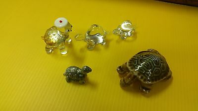 Turtle Figurine Lot - Glass, ceramic & metal - (L3/B7)