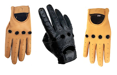 Driving Motorcycle Riding Gloves - Real Leather - Black Brown Tan Yellow