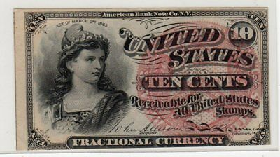 1863 Civil War US Fractional Currency FR 1258 10c AU 4th Design Bust of Liberty*
