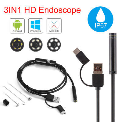 3in1 Waterproof Endoscope Borescope Type-C+Micro USB+PC Snake Inspection Camera