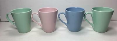 Lot of 4 Pastel 8 ounce Luray Style Coffee Mugs Cups (Unmarked)