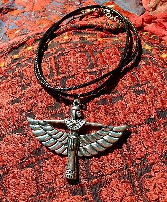 Psychic Powers Necklace Winged Goddess Pendent Egypt Wiccan Magick Witch