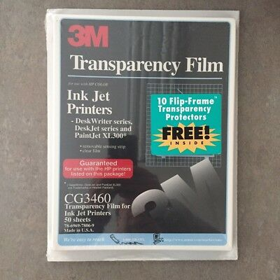 3M Transparency Film CG3460 For Ink Jet Printers W/10 Flip-Frame Protectors NEW