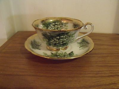 Vintage Napco SD-159 Hand Painted GREEN Flower Cup and Saucer Set