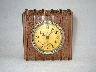 Vintage Old Collectible Rare Light Pink Color Glass T C Tread Mark Watch Clock