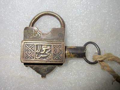Vintage Old Rare Brass Hand Carved Urdu Written Screw System Pad Lock With Key