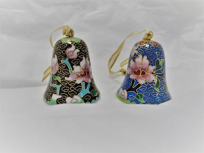 2 Beautiful Cloisonne Brass And Enamel Christmas Ornament Bells-New