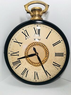 """Vintage 17"""" Motion Wall Clock Large Pocket Watch #47 United Industrial Steampunk"""