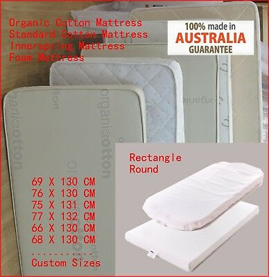 Au Made Innerspring Organic Baby Bed Crib Cot Mattress & Pad & Protector