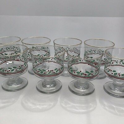 8 Vintage Arby's Libbey Dessert Punch Glasses Holly Berry Gold Christmas Glass