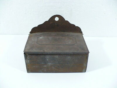 """Antique Match Holder with lid and in beautiful light rust patina 3-3/4"""" x 2-1/2"""""""