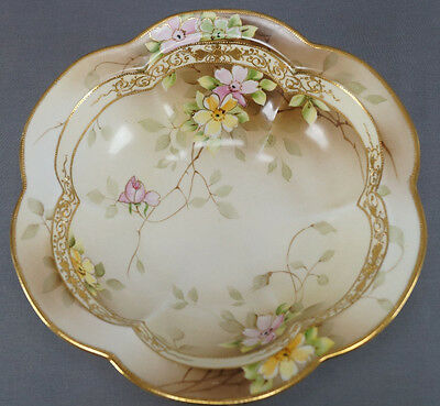 Hand Painted Nippon Pink & Yellow Floral Gold Moriage Large Bowl C. 1891 - 1911