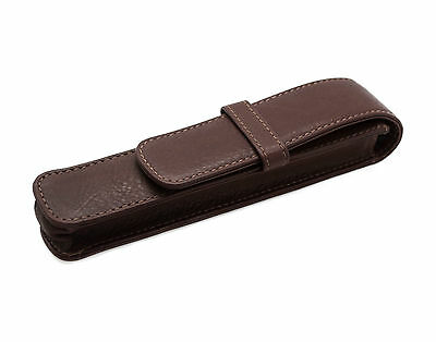 Leather Fountain Pen Case Single Sleeve Antique Brown