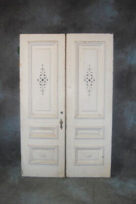 Original Antique Double Entry Door Set, Faux Painted Oak, Pine Doors